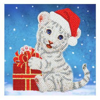 Crystal Card Kit - Christmas White Tiger