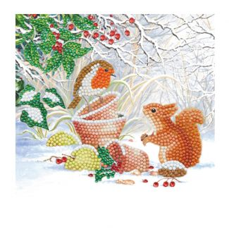 Crystal Art Card - Winter Friends (18cm x 18cm)