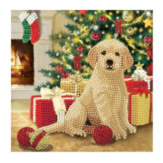 Crystal Art Card - Puppy's First Christmas (18cm x 18cm)