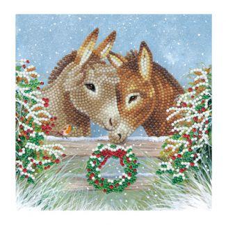 Crystal Art Card - Donkey Love (18cm x 18cm)