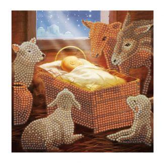 Crystal Art Card - Baby in a Manger (18cm x 18cm)