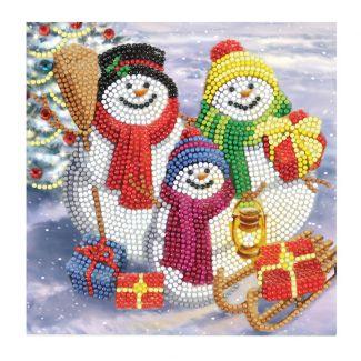 Crystal Art Card - Snowman Family Fun (18cm x 18cm)
