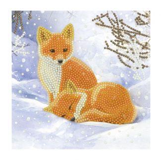 Crystal Art Card - Snowy Fox Cubs (18cm x 18cm)