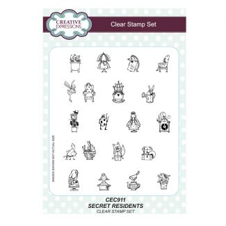 Secret Residents A5 Clear Stamp Set