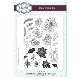Winter Flowers and Foliage A5 Clear Stamp Set