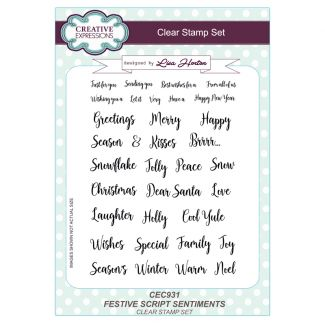 Festive Script Sentiments A5 Clear Stamp Set