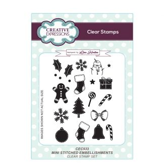 Mini Stitched Embellishments A6 Clear Stamp Set