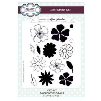 Sketchy Florals A5 Clear Stamp Set