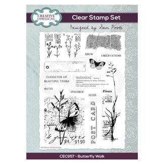 Creative Expressions Sam Poole - Butterfly Walk A5 Clear Stamp Set