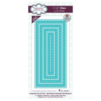Creative Expressions Sue Wilson Slimline Decorative Squared Rectangles Craft Die x 4 dies (Largest die size 20.9cm x 9.7cm)