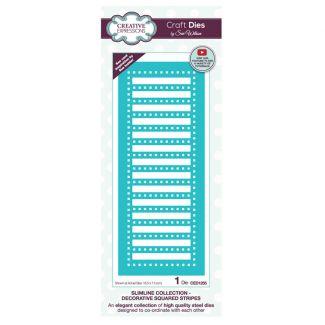 Creative Expressions Sue Wilson Slimline Decorative Squared Stripes Craft Die x 1 die (Size 18.5cm x 7.5cm)