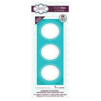 Creative Expressions Sue Wilson Slimline Decorative Oval Aperture Trio Craft Die x 1 die (Size 19cm x 7.4cm)
