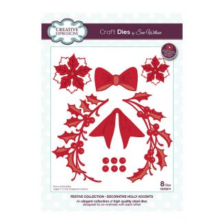 Creative Expressions Sue Wilson Decorative Holly Accents