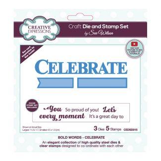 Sue Wilson Bold Words - Celebrate Craft Die & Stamp Set