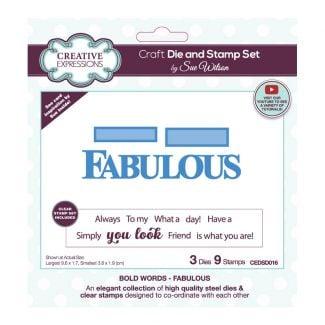 Sue Wilson Bold Words - Fabulous Craft Die & Stamp Set