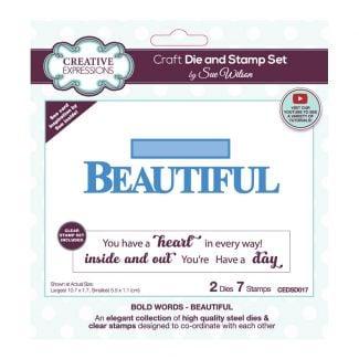 Sue Wilson Bold Words - Beautiful Craft Die & Stamp Set
