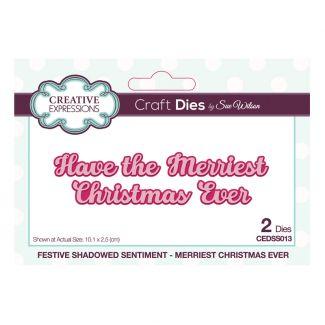 Festive Shadowed Sentiment Merriest Christmas Ever Craft Die