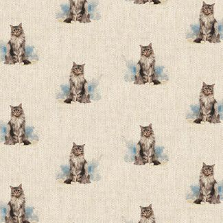 Chatham Glyn Linen Look Fabric - Cat All-Over (