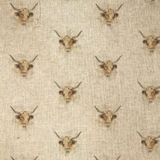Chatham Glyn Linen Look Fabric - Highland Cow (1/2 metre)