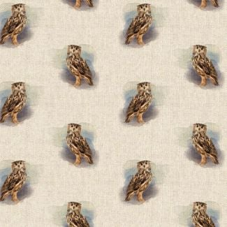 Chatham Glyn Linen Look Fabric - Owl All-Over (1/2 metre)