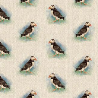 Chatham Glyn Linen Look Fabric - Puffin All-Over (1.5 metre)