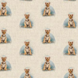 Chatham Glyn Linen Look Fabric - Tiger Cub All-Over (1.5 metre)