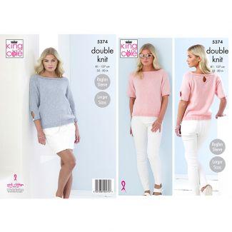 Ladies raglan sleeved sweater in Cotton Top DK