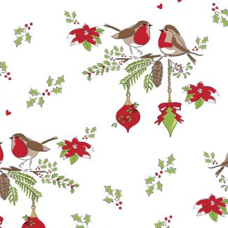 Debbie Shore's Deck the Halls Festive Fabric - Love Birds