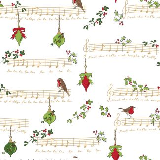 Debbie Shore's Deck the Halls Festive Fabric -Music Notes