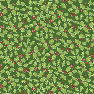 Debbie Shore's Deck the Halls Festive Fabric - Holly Green