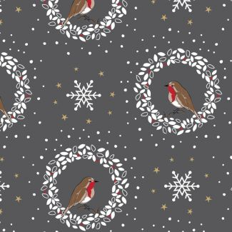 Debbie Shore's Deck the Halls Festive Fabric - Robin & Wreath Grey