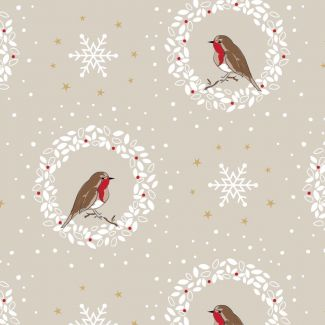 Debbie Shore's Deck the Halls Festive Fabric - Robin & Wreath Beige