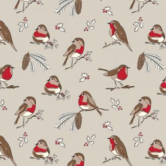 Debbie Shore's Deck the Halls Festive Fabric - Robin on Beige