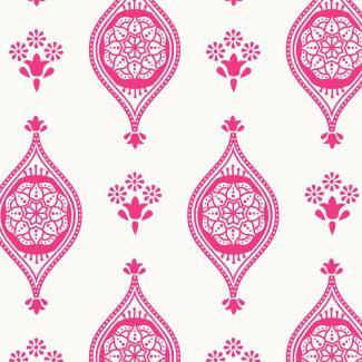Debbie Shore's New Delhi Fabric - Indian Tiles Pink (fat quarter)