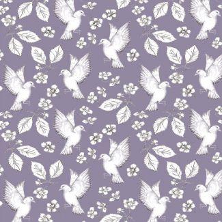 Debbie Shore - Garden Birds -Birds & Flowers - Purple - Fat Quarter