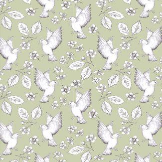 Debbie Shore - Garden Birds - Birds & Flowers - Green - Fat Quarter