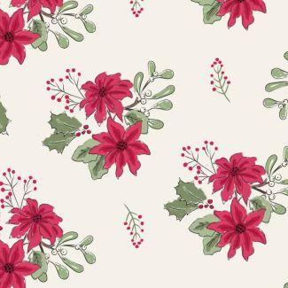 Debbie Shore - Christmas Critters Poinsettia (fat quarter)