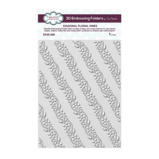 Diagonal Floral Vines 3D 5 3/4 x 7 1/2 3D Embossing Folder