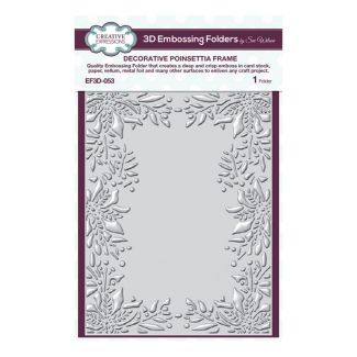 """Creative Expressions Decorative Poinsettia Frame 7.5"""" x 5.75"""" 3D Embossing Folder"""