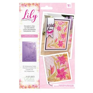 "Lily Collection - 3D Embossing Folder 7"" x 5"" - Decadent Lilies"