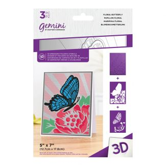 3D Embossing Folder & Stencil - Floral Butterfly