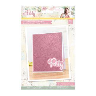 "Garden Party - 5"" x 7"" 3D Embossing Folder - Vintage Parasol"