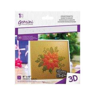 6 x 6 3D Embossing Folder - Elegant Poinsettia