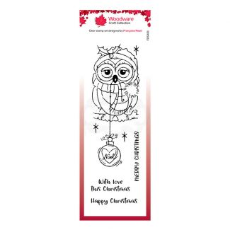 """Woodware Festive Clear Stamp - Bauble Owl (8"""" x 2.6"""")"""