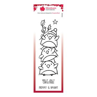 Woodware Festive Clear Stamp - Robin Stack