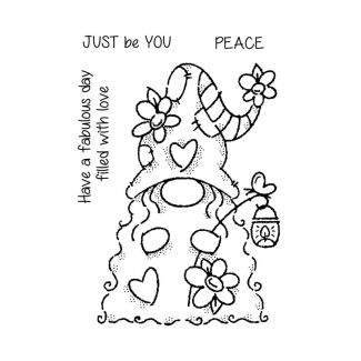 """Woodware Clear Stamp - Flower Power Gnome (6"""" x 4"""")"""