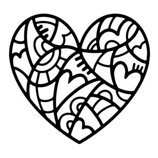 Woodware Stencil - Doodle Heart