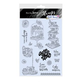 For the Love of Stamps - It's Tea Time A4 Stamp Set