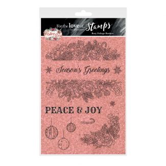 For the Love of Stamps - Rosy Foliage Border A5 Stamp Set