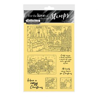 For the Love of Stamps - Cosy Fireplace A6 Stamp Set